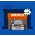 Auto mechanic service center flat banner vector image vector image