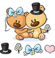 Bears in wedding dress sitting isolated on white vector image