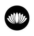 black lotus icon in black circle vector image vector image