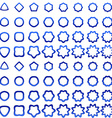 Blue curved polygon shape icon collection vector image vector image