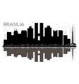 brasilia brazil city skyline black and white vector image vector image