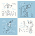 business situations - set of line design style vector image vector image