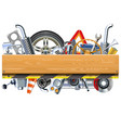 car parts with wooden board vector image vector image