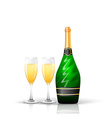 Champagne bottle and glasses vector image