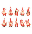 christmas dwarfs adorable gnomes in red white vector image