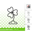clover simple black line icon vector image vector image
