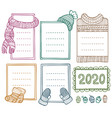 collection hand-drawn winter knitted frames vector image vector image