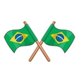Crossed flags of Brazil icon cartoon style vector image vector image