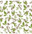Cups of tea with green leaves seamless pattern vector image vector image