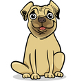 cute pug dog cartoon vector image
