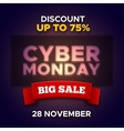 Cyber Monday promo banner background vector image