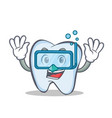 diving tooth character cartoon style vector image vector image