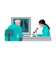 doctor looking at computer with lungs x-ray vector image vector image