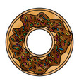 donut with chocolate and colours sparks in colored vector image vector image