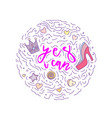 doodle motivation text - yes i can in round form vector image