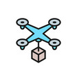 drone with box fast delivery service flat color vector image