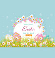 easter poster with eggs flowers grass vector image vector image