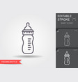 feeding bottle line icon with editable stroke vector image
