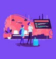flat man and woman couple in airport waiting vector image vector image