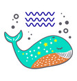 funny simple cartoon style whale logo vector image vector image