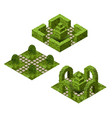 garden isometric tile set asset with various vector image vector image