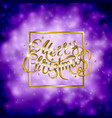 golden text on purple background merry christmas vector image