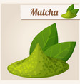 green matcha tea detailed icon vector image vector image