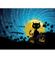 Halloween party background with cat vector image