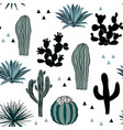 hand drawn seamless pattern with sketch saguaro vector image vector image