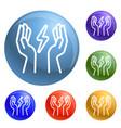 hand keep energy icons set vector image
