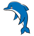 happy blue dolphin on white background vector image vector image
