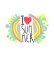 i love summer colorful logo template original vector image vector image