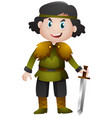 knight holding sharp sword vector image vector image