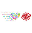 love heart composition of mosaic and textured vector image vector image