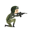 military man shooting a gun soldier character in vector image vector image