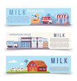 milk production horizontal banners template vector image vector image