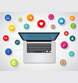 modern laptop with media icons and symbols vector image