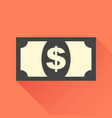 money icon in flat style dollar with long shadow vector image vector image