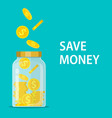 money jar saving dollar coin in jar vector image