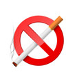 no smoking red prohibition sign with burning vector image