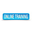 online training blue 3d realistic square isolated vector image vector image