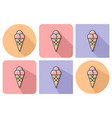 outlined icon ice cream cone with parallel and vector image vector image