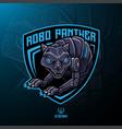 panther robot mascot logo design vector image