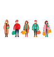 people in winter clothes wearing face mask vector image vector image