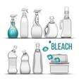 plastic bottle for bleach detergent set vector image vector image