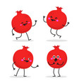 pomegranate cute fruit character set vector image vector image
