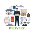 postal delivery elements set vector image vector image