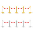 realistic detailed 3d gold and silver barriers vector image vector image