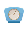 retro clock with bright blue frame and round dial vector image