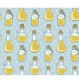 seamless pattern with bottles natural oil vector image vector image
